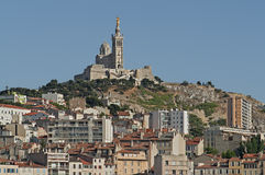 View of Marseille in South France. View of Marseille and the church Notre Dame de la Garde in South France Stock Photos
