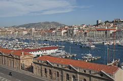 View of Marseille in South France. View of the old harbor Vieux Port in Marseille in South France Stock Image