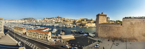View of Marseille  to the old roman harbor building and skyline Stock Photos