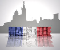 View of Marseille. Word Marseille with national flag of france near skyline silhouette Royalty Free Stock Images