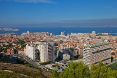 View of Marseilles city and the Gulf of Lion Stock Photos