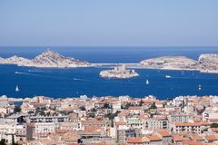View of Marseilles, France, Europe. View of Marseilles from a hill, France, Europe Royalty Free Stock Photos