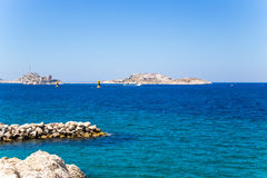 View from Marseilles to the islands of the archipelago of Frioul. On the left side island of If with the same name castle Royalty Free Stock Photography