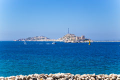View from Marseilles to the islands of the archipelago Friuli. In the foreground island of If with the same name castle Stock Image