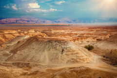 View from Masada fortress. To Dead Sea and Jordan royalty free stock image