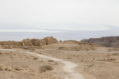 View from Masada in Israel to the dead sea Royalty Free Stock Photo