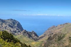 View of Masca village on the island of Tenerife, Canary Islands, Spain stock photo