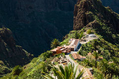 View on Masca village in the rainy day on Tenerife Royalty Free Stock Image