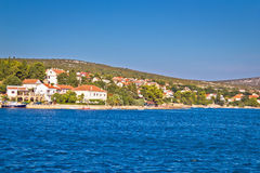 View of Maslenica village waterfront Stock Photo