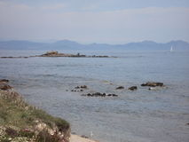 A view about the massif des Maures from the coastal road to Saint Tropez. In summer Royalty Free Stock Images