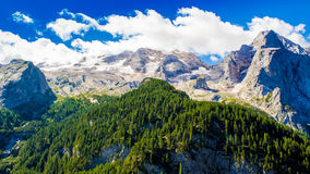 View of the massif of the Marmolada, Italy. Panoramic view of the massif of the Marmolada in the Dolomites, Italy royalty free stock images