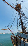 View of mast and rigging on the tall sail ship. Royalty Free Stock Photos