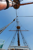View of mast and rigging on the tall sail ship. Royalty Free Stock Photo