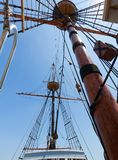 View of mast and rigging on the tall sail ship. Royalty Free Stock Images