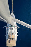 View from the mast on a sailing yacht Stock Photo