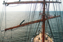 View from mast on sailsboat deck Stock Photo