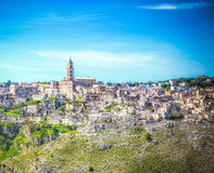 View of Matera,basilicata, Italy, UNESCO under blue sky Royalty Free Stock Images