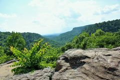 View from Mather Lodge at Petit Jean State Park. View from Mather Lodge, the park`s mountain lodge on the bluff of scenic Cedar Creek Canyon Stock Image