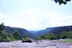 View from Mather Lodge at Petit Jean State Park. View from Mather Lodge, the park`s mountain lodge on the bluff of scenic Cedar Creek Canyon Stock Photography