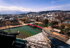 View from Matsumoto Castle. Matsumoto, Japan - March 06, 2015: View from the donjon of Matsumoto Castle looking out over Matsumoto towards the Japanese Alps Royalty Free Stock Photo