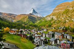 The view of the Matterhorn. This is the view of the Matterhorn as seen from the hiking trail along the Gornergrat Railway royalty free stock image