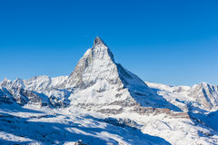 View of Matterhorn on a clear sunny day. From gornergrat train station stock photos
