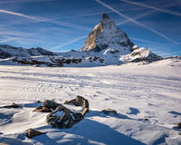 View of Matterhorn on a clear sunny day from the ski slope Stock Image