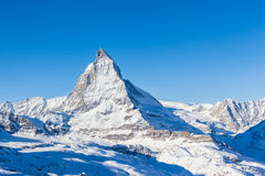 View of Matterhorn on a clear sunny day. Stunning view of Matterhorn on a clear sunny day from Gornergrat train station stock photography