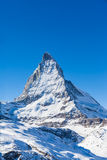 View of Matterhorn on a clear sunny day. On the winter hiking path, Zermatt, Switzerland royalty free stock photos