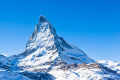 View of Matterhorn on a clear sunny day. On the winter hiking path, Zermatt, Switzerland stock photos
