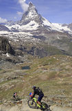 View of Matterhorn and cyclists, Switzerland Royalty Free Stock Image
