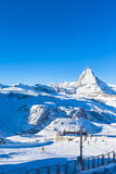 View of Matterhorn from Gornergrat. Stunning view of Matterhorn on a sunny winter morning from the Gornergrat station in the famous touristic place in Zermatt royalty free stock photography