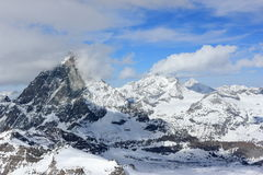 View of the Matterhorn from the Klein Matterhorn summit station. Swiss Alps, Valais, Switzerland. The Klein Matterhorn Little Matterhorn is a peak of the royalty free stock photography
