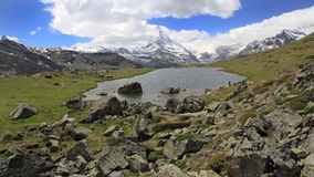 View of the Matterhorn and Lake Stellisee, Switzerland Stock Photography