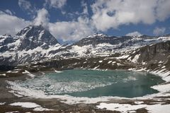 View of the Matterhorn massif. View of the massif of Mount Cervino, Aosta Valley Royalty Free Stock Photos