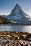View of Matterhorn Mountain with lake at Zermatt. Switzerland Stock Photo