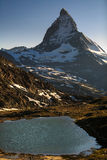 View of Matterhorn Mountain with lake at Zermatt Stock Image