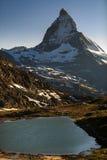 View of Matterhorn Mountain with lake at Zermatt Stock Image