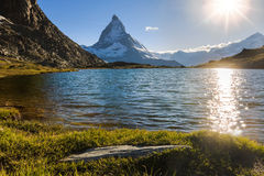 View of Matterhorn Mountain with lake at Zermatt Royalty Free Stock Photography