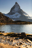 View of Matterhorn Mountain with lake at Zermatt Stock Photos