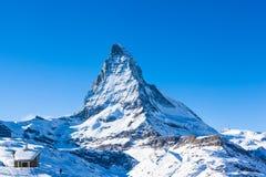 View of Matterhorn and the Riffelberg Chapel chapel. Zermatt, Switzerland royalty free stock photo