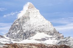 View of the Matterhorn from the Rothorn summit station stock images