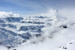 View of the Matterhorn from the Rothorn summit station. Swiss Alps, Valais, Switzerland. The Unterrothon & x28;or simply Rothorn& x29; is a mountain of the stock image