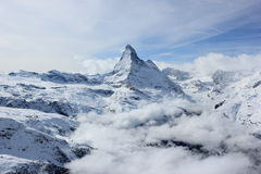 View of the Matterhorn from the Rothorn summit station. Swiss Alps, Valais, Switzerland. The Unterrothon or simply Rothorn is a mountain of the Swiss Pennine royalty free stock photos