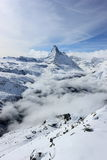 View of the Matterhorn from the Rothorn summit station. Swiss Alps, Valais, Switzerland. The Unterrothon or simply Rothorn is a mountain of the Swiss Pennine royalty free stock photo