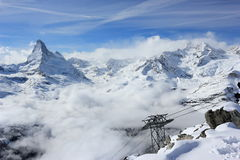 View of the Matterhorn from the Rothorn summit station. Swiss Alps, Valais, Switzerland. The Unterrothon or simply Rothorn is a mountain of the Swiss Pennine stock image