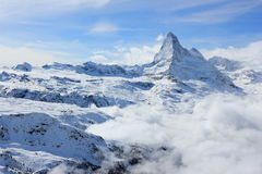 View of the Matterhorn from the Rothorn summit station. Swiss Alps, Valais, Switzerland. The Unterrothon or simply Rothorn is a mountain of the Swiss Pennine royalty free stock image