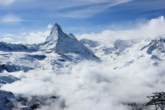 View of the Matterhorn from the Rothorn summit station. Swiss Alps, Valais, Switzerland. The Unterrothon or simply Rothorn is a mountain of the Swiss Pennine stock photo