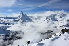 View of the Matterhorn from the Rothorn summit station. Swiss Alps, Valais, Switzerland. The Unterrothon or simply Rothorn is a mountain of the Swiss Pennine stock photography