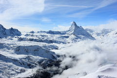 View of the Matterhorn from the Rothorn summit station. Swiss Alps, Valais, Switzerland. The Unterrothon or simply Rothorn is a mountain of the Swiss Pennine stock images